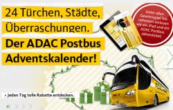 ADAC Postbus Adventskalender: Täglich 30% Rabatt auf eine Stadt
