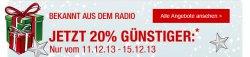 Aktion, 20 % Zusatz-Rabatt bei Galeria-Kaufhof nur vom 11. bis 15. Dezember!