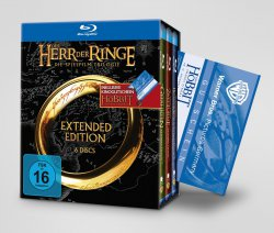 """Blu-ray-Box """"Der Herr der Ringe – Die Spielfilm-Trilogie"""" + Kinogutschein für Der Hobbit – Smaugs Einöde für 39,95€ kostenloser Versand @tchibo.de"""