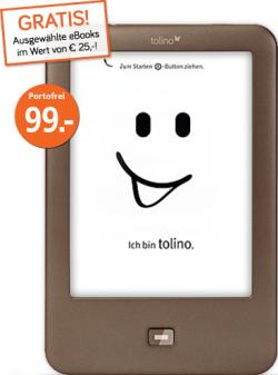 eBook Reader tolino shine für 99 Euro & eBooks im Wert von 25 €uro gratis dazu, versandkostenfrei, @ weltbild