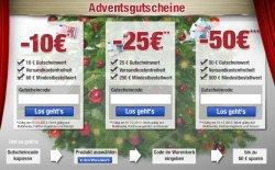 Exklusive Adventsgutscheine über 10, 25 und 50 €uro & versandkostenfrei @plus.de