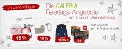 Galeria Kaufhof Feiertagsangebote mit 10-20% Rabatt azuf Lego, Uhren etc.