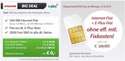 Getmobile: Handy Vertrag 500MB Internet Flat, 3000 SMS Flat, E-Plus Flat für 0,00€ im Monat