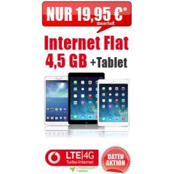 Gratis iPad oder Galaxy Tab 3 10.1 zur Vodafone Internet Flat nur 19,95€ mtl@ ebay