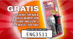 Gratis Ladegerät  für AAA Akkus und AA Akkus im Wert von 6,99€ inkl. 2x AAA Akkus @patronendepot.de zzgl. 4,95€ Versandkosten