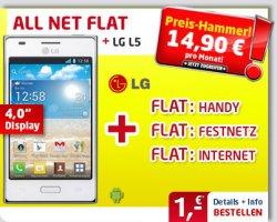 Gratis LG Optimus L5 weiß + Allnet + Internet Flat nur 14,90€ freie Netzwahl keine Anschlussgebühr @handyservice.de