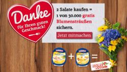 Homann.de: 2 Salate kaufen – 1 Blumenstrauß von Blume 2000 gratis erhalten !