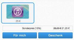 Paypal: 15% auf iTunes Codes ab 25 Euro !