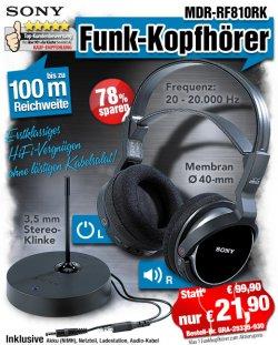 Sony Funkkopfhörer MDR-RF810RK für 21,90 € (statt 99,90 €) @ pearl + Gratisartikel