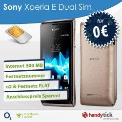 Sony Xperia E Dual Handy | o2 & Festnetz Flat & Internet 300 MB nur 4,95€mtl. @ebay