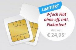 Sparhandy Big Deal: 3 fach Flat für 0,00€ statt 24,95€ mtl.