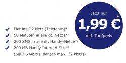Vertrag für 1,99€ im Monat: O2 Flat, 50 Min. in alle Netze, 200 Frei-SMS, Internetflat 200MB