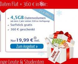 vodafone Datenflat (LTE oder UMTS) mit gratis Surfstick + 360 Euro Barauszahlung für nur 19,99€ mtl. @eteleon.de