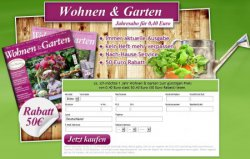 Wohnen & Garten Jahresabo für 0,40cent statt  50,40€ ( 50€ Rabatt ) lesen