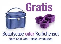 2 Dove-Produkte kaufen und zwischen 2 Gratis-Zugabeartikeln (Beautycase oder Körbchenset ) wählen @Amazon
