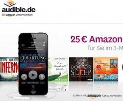 3 Monate Audible Mitgliedschaft + 3 Hörbücher für effektiv 4,85€ durch 25€ Amazon Gutschein