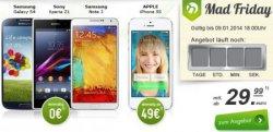 Bei Modeo.de: MadFriday Deal: iPhone 5s, Galaxy S4,… (iPhone mit 129€ Zuzahlung) ab nur 29,99€ im Monat mit Allnet-Flat