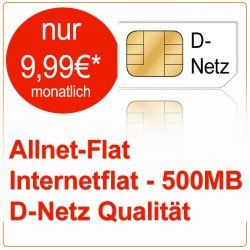 D Netz/ Allnet-Flat + Internetflat (500MB) für monatlich nur 9,99€ @eBay