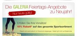 Galeria Kaufhof, Neujahrsangebote, 10 % auf das gesamte Sportsortiment, z.B. Nike Sporttasche für 19,95 €uro (statt 27,95 €)