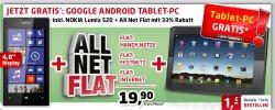 Gratis Nokia Lumia + Tablet PC zu Allnet + Internet Flat nur 19,95€ mtl/ 1€ Zuzahlung @handyservice.de