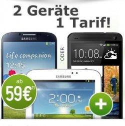 HTC One silver 32GB + Samsung Galaxy Tab 3 7.0 black, 8GB, Wi-Fi 59€ Zuzahlung für 31€ mtl. @modeo