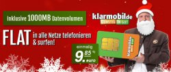 klarmobil Allnet-Flat + Internetflat 500MB für 9,85€ oder mit Internetflat 1000MB für 12,80€ (o2-Netz) @modeo.de
