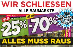 Mindestens 25% Rabatt und bis zu 70% Rabatt wegen Schließung @Max Bahr