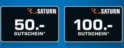 Neue Aktion bei Saturn: 50€ Gutschein bei einem Einkaufswert ab 499€ oder 100€ Gutschein bei einem Einkaufswert ab 999€