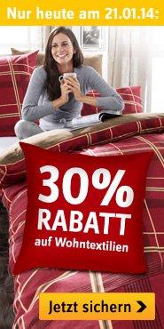 Nur heute am 21.01.2014, 30% Rabatt auf Wohntextilien @baur.de & Gratisshopper für Erstbesteller