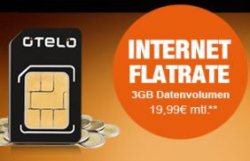 otelo Internet-Flat 3GB ungedrosselt für rechn. 2,91 Euro @logitel.de