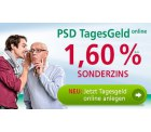 PSD Bank: Tagesgeldkonto mit 1,60% Sonderzinsen (regional)