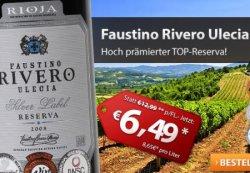 Und nochmal Wein: 15€ Gutschein (MBW35€) @der-weinversand.de z.B. 6 Flaschen Faustino Rivero Ulecia Rioja DOCa Reserva für 23,94€ + Versand