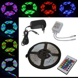 Wasserdicht 5M LED RGB SMD Strip, 12V + IR Controller + Netzteil für 16,19€ VSK frei @eBay