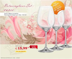 Wochenendangebot, Rotweingläserset (6 Stck) für 15,99 €uro @ Netto Onlineshop