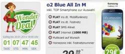 Wonder Deal bei modeo.de: o2 Blue All In M Flat + Samsung S4, HTC One oder Sony Xperia (ab nur 29€ Zuzahlung) für 29,99€ im Monat