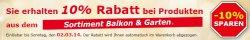 10% Rabatt auf alle Artikel aus dem Sortiment Balkon & Garten bis zum 02.03.14 im Netto Onlineshop