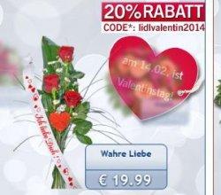 20% Gutscheincode auf lidl-blumen.de + versandkostenfrei, z.B. Strauss Wahre Liebe für nur 19,99€