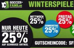 25% bei soccer-fans-shop.de auf schwarze, blaue, rote, grüne oder gelbe Artikel – jeden Tag eine Farbe