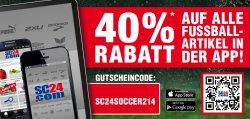 40% auf Fussballartikel von adidas, Nike, Puma @SC24.com – Die Aktion ist nur in der SC24.com App gültig!
