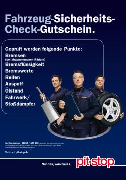 Kostenloser Fahrzeug Sicherheits-Check Gutschein für Pitstop – einfach ausdrucken