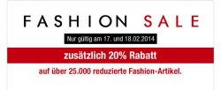 Fashion Sale bei Galeria Kaufhof mit 20% Rabatt mit Gutschein bis zum 18.02.2014