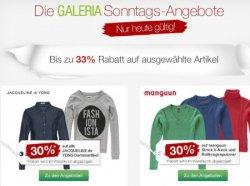 Galeria Kaufhof Sonntagsangebote, bis zu 33 % Rabatt, nur heute