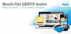 Gratis Simfy Premiumplus 1 Monat kostenlos Testen + 15 € Amazon Gutschein @web.de