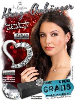 Herz-Anhänger ( 925er Sterling-Silber) GRATIS (nur Versand) statt 39,90 €uro, tolles Valentinsgeschenk @pearl