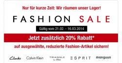 Neues Fashion Sale bei Galeria Kaufhof mit zusätzlich 20 % Rabatt, Lagerräumung