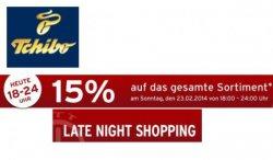 Tchibo.de: Heute 15% Rabatt auf ALLES beim latenightshopping von 18-24 Uhr