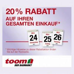 Toom Gutschein: 20% auf 1 gesamten Einkauf vom 26.02.-01.03.14