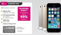 Valentinstag Special LiveDeal bei Sparhandy: iPhone 5s 64GB mit Telekom Complete M LTE für 1€ + mtl. 39,95€