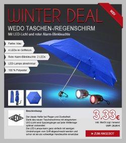 WEDO Taschenregenschirm mit LED-Lampe jetzt 3,33 Euro (UVP 29,99 Euro) bei Trade4Less
