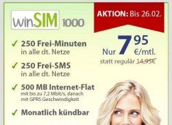 Winsim.de Tarif-Schnäppchen bis 26.02: WinSim1000 mit 250 Freiminuten, 500MB Daten… für nur 7,95€/Monat [ohne Laufzeit!]